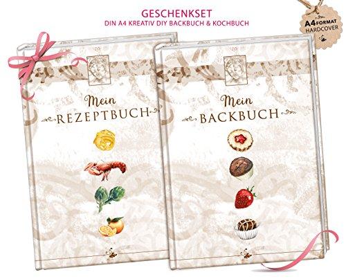 A4 SET Rezeptbuch zum Selberschreiben KOCHBUCH Hardcover