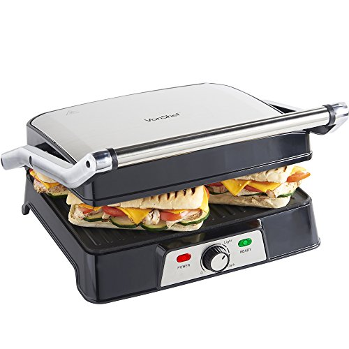 VonShef 2-in-1 Sandwich Toaster Maker and Grill, 4 Slice Panini Press with Adjustable Temperature Control and Non-Stick Plates for Healthy Grilling ? 2000W Stainless Steel