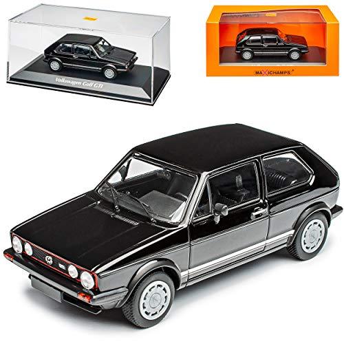 V-W Volkwagen Golf I 1 G-T-I 3 Türer Schwarz 1974-1983 1/43 Minichamps Maxichamps Modell Auto mit individiuellem Wunschkennzeichen