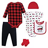 Hudson Baby Unisex Baby Cotton Layette Set, Christmas Tree, 6-9 Months