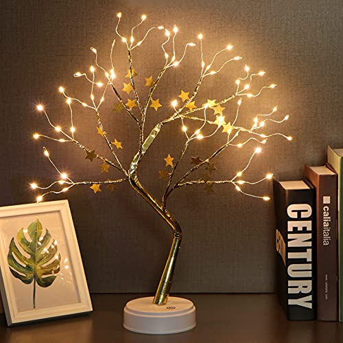 """Fashionlite 20"""" Tabletop Bonsai Tree Light 72 LED Table Lamp Firefly Star Tree, Touch Switch, DIY Artificial Tree Lights, Battery/USB Operated, Desk Tree for Home Party Wedding Bedroom (Warm White)"""