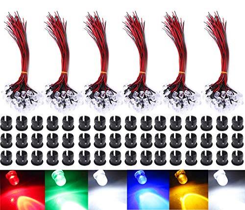 GTIWUNG 60pcs 6 Colori 12V LED Diodi ad Emissione, 5mm Luminosa Luce a Diodi LED Precablata, Led Modellismo + 60Pcs 5mm Supporto in Plastica del Diodo
