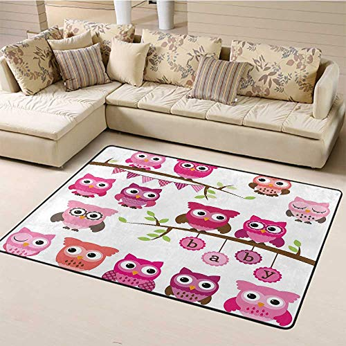 Indoor Modern Area Rugs Nursery Indoor/Outdoor Area Rugs Girl Baby Shower Themed Owls and Branches Adorable Cartoon Animal Characters for Kitchen Rugs Purple Pink Brown (5'x7')