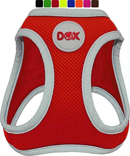 DDOXX Brustgeschirr Air Mesh, Step-In, reflektierend | viele Farben | für kleine, mittlere & mittelgroße Hunde | Hunde-Geschirr Hund Katze Welpe | Katzen-Geschirr Welpen-Geschirr | Rot, L