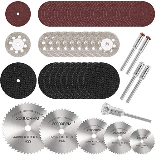 Demason 60pcs Sägeblatt, Kreissägeblatt Set, Mini Diamant Trennscheiben Schneidräder Drehwerkzeug 1/8