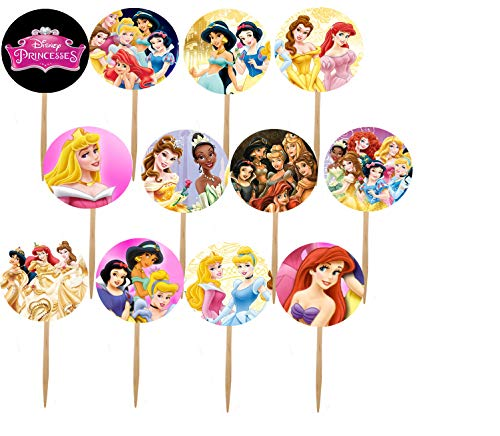 DJz Dealz Princesses Cupcake Picks, 12- Double-Sided Images Cake Topper with Various Princess Such as Cinderella, Ariel, Snow White, Rapunzel, Jasmine, Merida Images