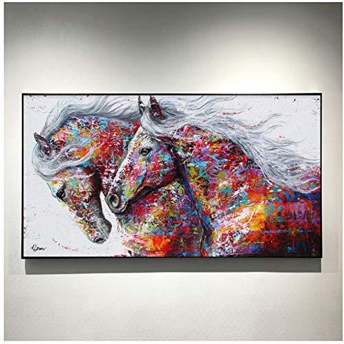 Animal abstracto moderno dos caballos corriendo lienzo pintura cartel Cuadros arte de pared para sala de estar decoración del hogar 30x60cm (12x24in)