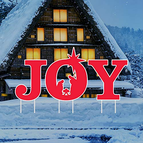 Holy Nativity - Joy Yard Sign Letters - Merry Christmas Yard Décor for Christmas Holiday Winter Decorations Outdoor with Metal Stakes, VP5298