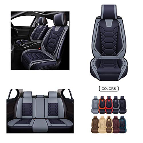 Leather Car Seat Covers, Faux Leatherette Automotive Vehicle Cushion Cover for Cars SUV Pick-up Truck Universal Fit Set for Auto Interior Accessories (OS-004 Full Set, Black&Grey) -  Oasis Auto
