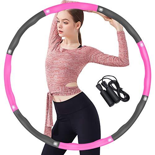 Hula Hoop Reifen Erwachsene, Hula Hoop mit weichem Schaumstoff, 8 abnehmbaren Abschnitten einstellbare Größe und Gewicht, mit Geschenk Springseil, zur Gewichtsabnahme zu Hause (Rose-Grau)