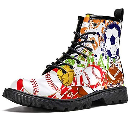 Botas de invierno con estampado de fútbol, baloncesto, rugby, botas de invierno para mujeres y niñas, botas de nieve cálidas con cordones para el tobillo, color Multicolor, talla 40.5 EU