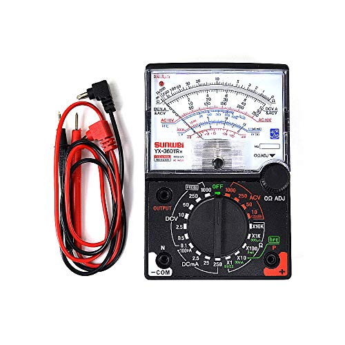 White Deer Analogue Meter Multimeter Multitester, Amp Volt Ohm Voltage Tester Meter and Diode Continuity Test, Accurately Measures Voltage Current Amp Resistance Capacitance Dual Fused for Anti-Burn