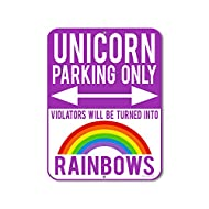 HDG Designs Unicorn Decor for Girls Room, Unicorn Parking Only Violators Will be Turned into Rainbows - Purple 9 x 12 inch Metal Aluminum Novelty Sign Funny Gifts - Made in The USA