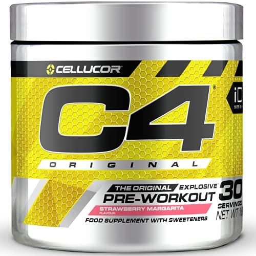 C4 Original - Suplemento en polvo para preentrenamiento - Margarita de fresa   Bebida energética para antes de entrenar   150mg de cafeína + beta alanina + monohidrato de creatina   30 raciones