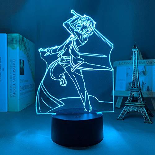 3D Nacht Lampe Anime Illusion Lampe Acryl LED LED Anime Sword Art Online Kirito Badass Figur für Schlafzimmer Decor Nightlight Birthday Gift Room 3D Lampe Manga Sao ZMSY