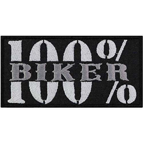 Parche bordado 100 % para motero, diseño de motorista rockero, para coser o coser, ideal como regalo para piel/chaquetas/trajes / vaqueros / bolsos 100 x 50 mm