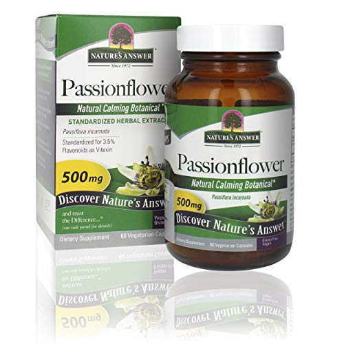 Nature's Answer Passion Flower  Dietary Supplement   Natural Calming Botanical   Non-GMO   Alcohol-Free, Gluten-Free, Vegetarian & Vegan 60 Capsules
