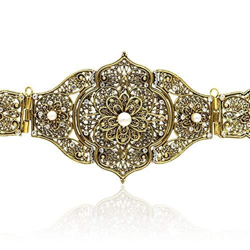 HUXIZ Belts Vintage Dame Skulptur Metall Bauchkette Handgemachte Geflochtene Gürtel Marokko Art justiert Länge Antik Gold Farbe Ethnischen Körperschmuck (Farbe : Gold)