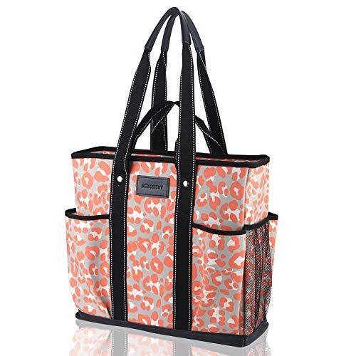 Canvas Tote Shopping Bag,Utility Teacher Nurse Organizer Handbag Bag DEMOMENT(Pink Leopard)