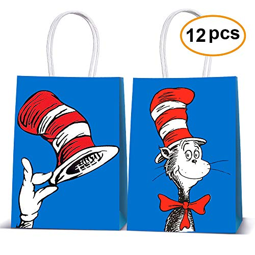 Cat's Hat Goodie Bags Filled with Candies Toys Goods for Cat and The Hat Carton Theme Party Decorations (12 Pack Bags Only)