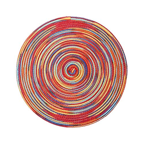 YuuHeeER Posavasos redondos de hilo de algodón trenzado de colores arcoíris mesa de cocina