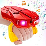 vamei pompas de jabon pomperos para niños Máquina de Burbujas con luz de Mano Brazo automático Bubble Blower Juegos de jardín al Aire Libre Interior Bubble Toy Rojo para niños pequeños