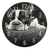 Domoko - Reloj de pared redondo, acrílico, para decoración del hogar, diseño de bulldog francés, color negro