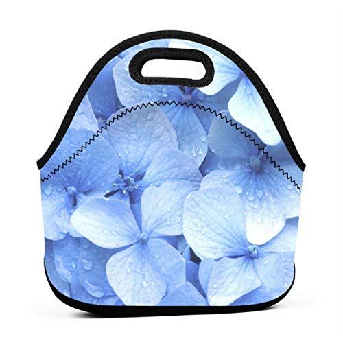 Bolsa de neopreno azul para hortensias portátil con correa de cremallera, bolsa de viaje, bolsa de mano, bolsa de mano, bolsa de viaje, para mujeres, hombres, niños y niñas