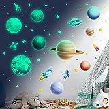Leuchtsterne Selbstklebend Kinderzimmer Jungen Mädchen, Leuchtende Sterne Leuchten im Dunkeln Sternenhimmel Aufkleber Leuchtsticker Astronaut Planet Wandsticker Wandtattoo Leucht Wandaufkleber
