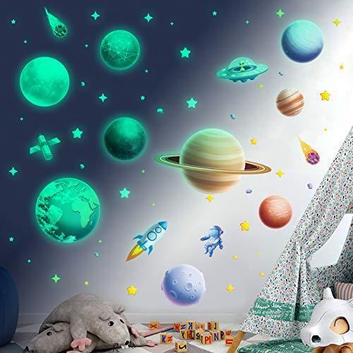 Estrellas luminosas autoadhesivas, para habitación de niños, niñas, estrellas luminosas que brillan en la oscuridad, pegatinas luminosas para pared de astronauta planeta