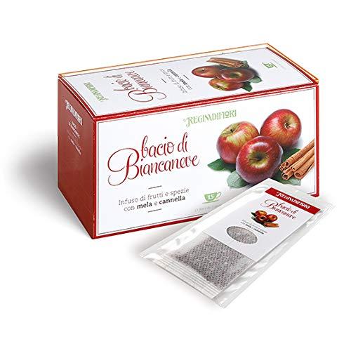 Bacio di Biancaneve Regina di Fiori 3 confezioni da 15 filtri (45 filtri) - Infuso di frutti e spezie con Mela e Cannella - Senza calorie e ricca di frutta naturale