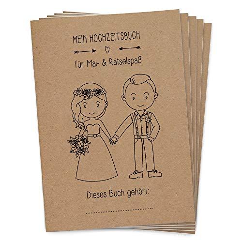 Wedding Shop Love Grows 5 Stück Hochzeitsmalbuch DINA5 24-seitig liebevoll gestaltetes Malbuch Hochzeit Kinder-Beschäftigung Gastgeschenke