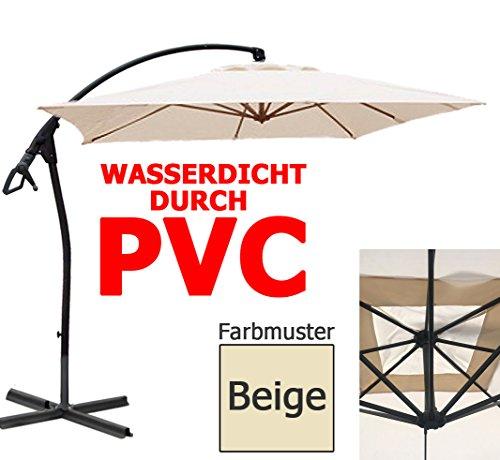 habeig® Ampelschirm 2,5 x 2,5 m quadratisch WASSERDICHT durch PVC Schirm 250x250cm Sonnenschirm (Beige #44)