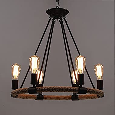 BAYCHEER HL371768 Industrial Retro Vintage style with 39.37 inch Length Chain Rope 6 Lights Chandelier Pendant Light Lamp use E26/27 Bulb