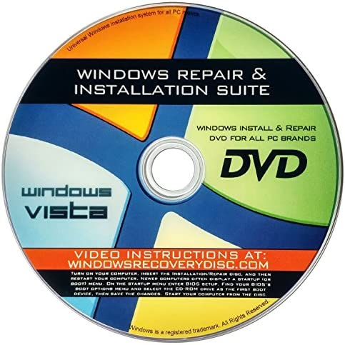 Recovery Repair Re install disc compatible with MS Win Vista 32 64 bit PC makers product image