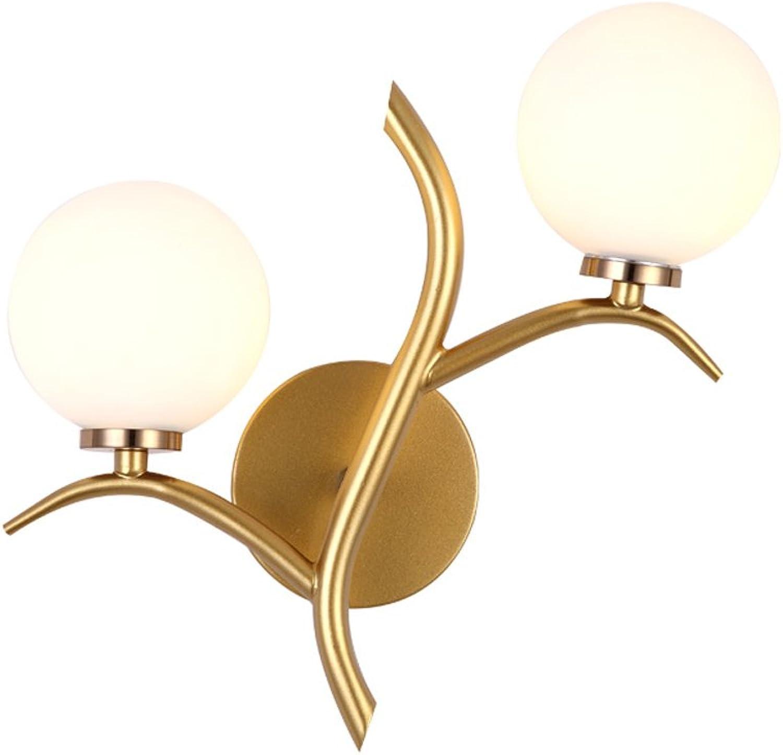 LED-Lesewandlampen, Nordic Iron schwarz Gold Hirschkopf Glas dekorative Hngelampe Wandleuchte moderne minimalistische Wohnzimmer Schlafzimmer Korridor Cafe Wandleuchten (Farbe   Gold)