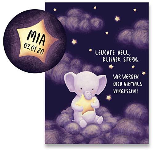 Polarkind individuelle Trauerkarte für Babys Kinder Sternenkind Fehlgeburt Set XXL Stern Magnet mit Wunschdaten Beileidskarte Klappkarte handmade