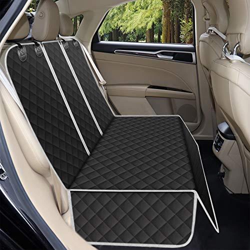 Alfheim Fundas de asiento de coche para perro, impermeables y antideslizantes, a prueba de arañazos, duradero, lavable, protector de asiento trasero universal para coche, camiones, SUV (negro)