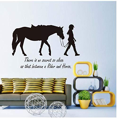 Annqing Es gibt Kein Geheimnis So Nah, dat Meisjes en paarden muursticker citaten afneembaar vinyl afneembare transfersticker kamer sjabloon muurschildering decoratie 66 x 43 cm