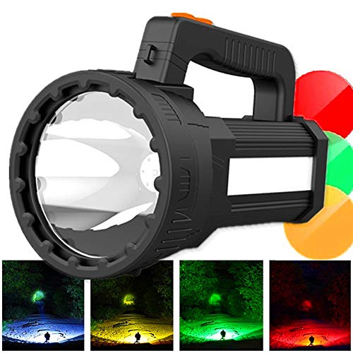HMAN Rechargeable LED Spotlight,Super Bright 6000 High Lumens Handheld Flashlight,Detachable Hunting Lens Filter,Waterproof Marine Boat Light Emergency Searchlight,with USB Output Power Bank