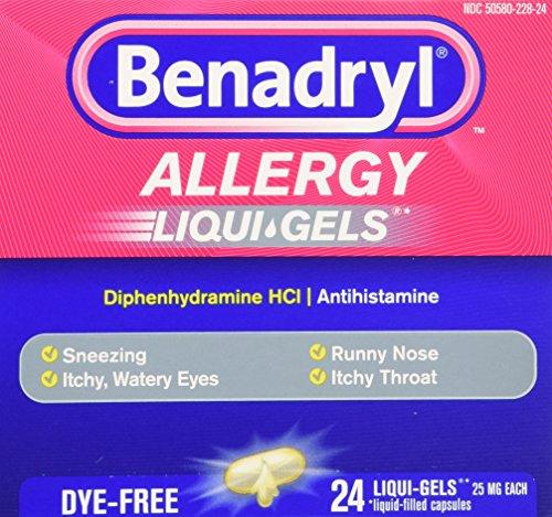 Benadryl Dye-Free Allergy Reliefs, 24-Count Liqui-gels (Pack of 4)