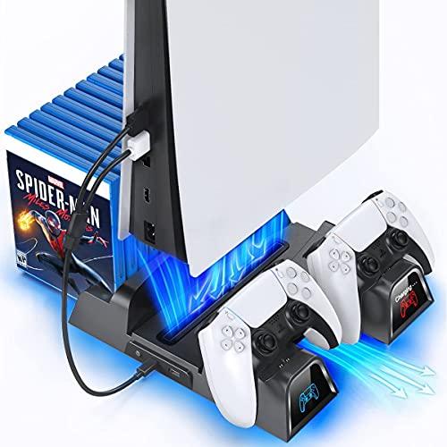 Suporte de resfriamento PS5 com estação de carga e ventoinha de resfriamento por sucção, estação de carregamento de controlador duplo, acessórios obrigatórios para console Playstation 5 PS5, estação de carga e 12 slots de jogo