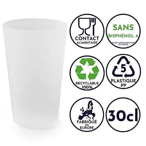 50 vasos reutilizables | Polipropileno Rígido Plástico 30cl | Color helado