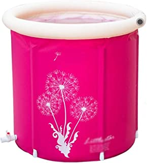 SHYPT Rose Red Inflatable Bathtub,Portable Foldable Soaking Bath Tub Freestanding Plastic Tub for Shower Stall