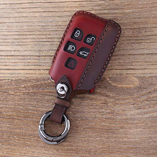 ZYHZJC Autoschlüsselabdeckung,für Land Rover Range Rover Evoque Discovery 4 Schlüsselschale Fall Schlüsselbund Auto Schlüssel Tasche Fob 5 Tasten Leder Schlüsselhülle
