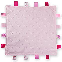 Baby Boys Girls Soft Touch Tag Comforter Blanket Velour Bubble Front And Satin Back With Satin Tags Different Colours And Different Styles Size = (35cm x 35cm) , BC17 Size: 30.5 x 30.5cm Approx Machine washable
