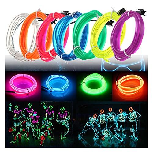 Neon EL Wire Cable de alambre LED Neon Christmas Dance Party DIY Disfraces Ropa Luminosa Luz de Coche Decoración Ropa Luz Flexible Adecuado para todo tipo de fiestas, carnavales y F