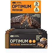 Optimum Nutrition Protein Bar with Whey Protein Isolate, Low Carb High Protein Snacks with No Added Sugar, Chocolate Peanut Butter, 10 Bar (10 x 62 g)