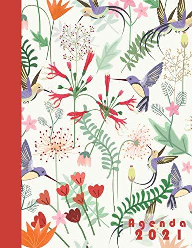 Agenda 2021: Planificador anual grande dia por pagina español 365 dias-flores |12 meses enero a diciembre 2021 | XXL Planificadora diaria y mensual , Organizador Calendario 2021