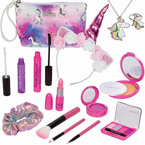 PixieCrush Unicorn Beauty Pretend Makeup for Girls; Play Makeup for Kids & Little Girls Ages 3 4 5 6 7 8 9 10; Kids Makeup Kit for Girls with Carrying Case; Fake Makeup Bag for Little Girl's Purse…